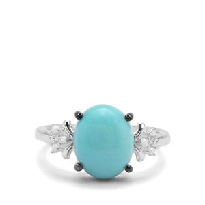 Sleeping Beauty Turquoise Ring with White Zircon in Sterling Silver 3.66cts