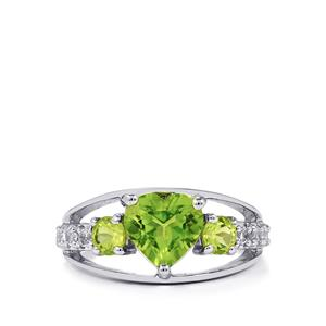 Changbai Peridot & White Topaz Sterling Silver Ring ATGW 2.77cts