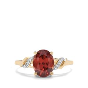 Zanzibar Sunburst Zircon Ring with Diamond in 9K Gold 2.68cts