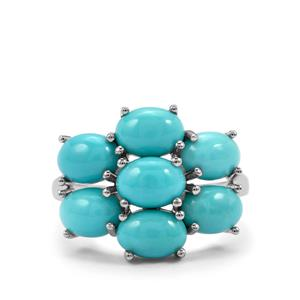 Sleeping Beauty Turquoise Ring in Sterling Silver 4.77cts