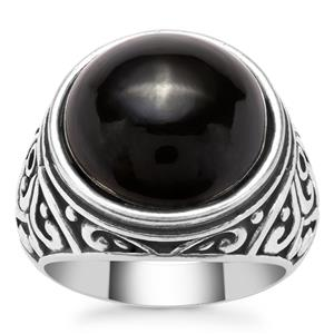 Black Onyx Ring in Pewter 10.26cts