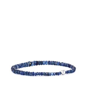 Daha Kyanite Stretchable Graduated Bead Bracelet with Silver Ball 39cts