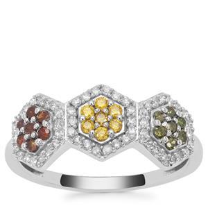 Multi Colour Diamond Ring in 9K White Gold 0.51ct
