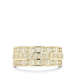 Natural Yellow Diamond Ring in 9K Gold 1cts