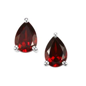 Rajasthan Garnet Earrings in Sterling Silver 1.85cts