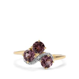 Mahenge Pink Spinel Ring with Diamond in 10K Gold 1.22cts