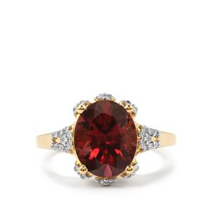 Zanzibar Zircon Ring with Diamond in 18k Gold 5.42cts