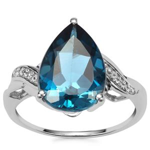 Marambaia London Blue Topaz Ring with White Zircon in 10K White Gold 5.85cts