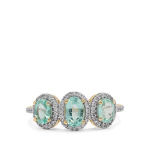 Malysheva Emerald & White Zircon 9K Gold Ring ATGW 1.35cts
