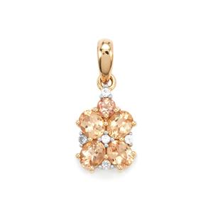 Ouro Preto Imperial Topaz Pendant with White Zircon in 10K Gold 1.81cts