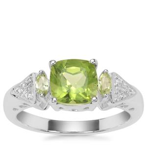 Red Dragon Peridot Ring with White Zircon in Sterling Silver 1.97cts