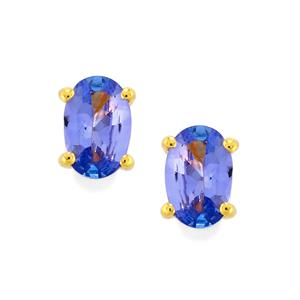 AA Tanzanite Earrings in Gold Vermeil 0.95ct