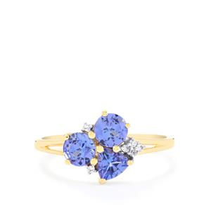 AA Tanzanite Ring with White Zircon in 10k Gold 1.19cts