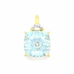 Lehrer QuasarCut Sky Blue Topaz Pendant with Diamond in 10K Gold 6.61cts