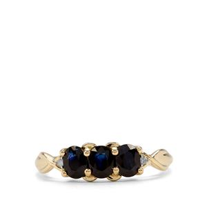 Australian Blue Sapphire Ring with Diamond in 10k Gold 1.21cts