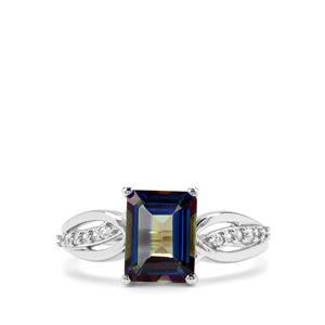 Mystic Blue Topaz & White Zircon Sterling Silver Ring ATGW 2.91cts