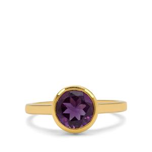 Zambian Amethyst Ring in Gold Plated Sterling Silver 1.70cts