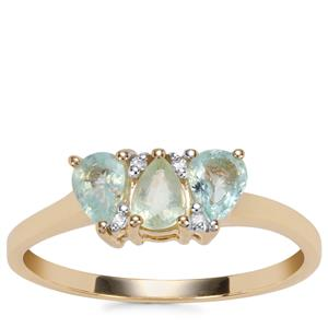 Paraiba Tourmaline Ring with Diamond in 9K Gold 0.62ct