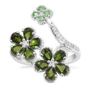 Tsavorite Garnet, Chrome Diopside Ring with White Zircon in Sterling Silver 2.27cts