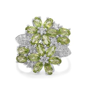 Red Dragon Peridot & White Zircon Sterling Silver Ring ATGW 4.55cts