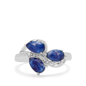 Rose Cut Blue Sapphire & White Zircon Sterling Silver Ring ATGW 2.28cts (F)