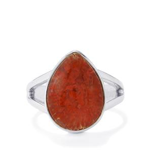Fossil Red Coral Ring in Sterling Silver 8cts