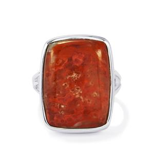 Fossil Red Coral Ring in Sterling Silver 15cts