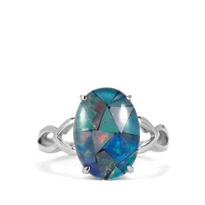 Mosaic Opal Sterling Silver Ring (14x10mm)