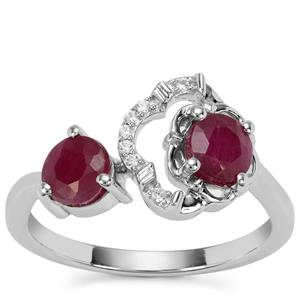 Bangalore Ruby Ring with White Zircon in Sterling Silver 1.48cts