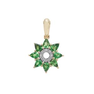 Tsavorite Garnet Pendant with Diamond in 9K Gold 1.24cts