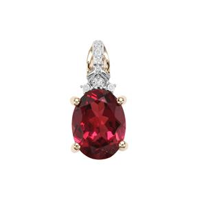 Mahenge Red Garnet Pendant with Diamond in 9K Gold 2.37cts