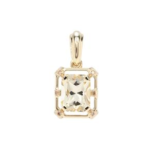 Cuprian Sunstone Pendant with Champagne Diamond in 9k Gold 2.06cts