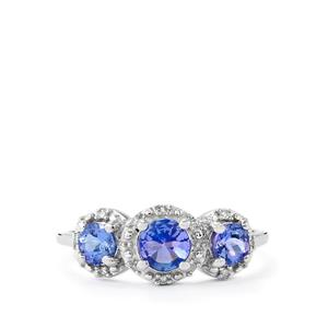 AA Tanzanite Ring with Diamond in 10k White Gold 1.08cts