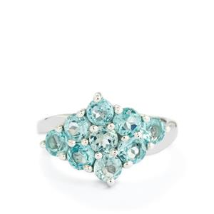 2.57ct Madagascan Blue Apatite Sterling Silver Ring