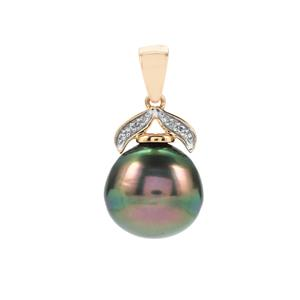 Tahitian Cultured Pearl Pendant with Diamond in 10K Gold (13mm)