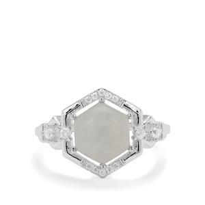 Gem-Jelly™ Aquaprase™ & White Zircon Sterling Silver Ring ATGW 2.77cts