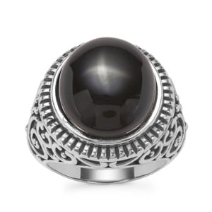 Black Onyx Ring in Pewter 10.48cts