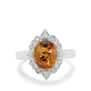 Burmese Amber & White Zircon Sterling Silver Ring (10x8mm)