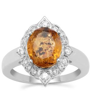Burmese Amber Ring with White Zircon in Sterling Silver (10x8mm)