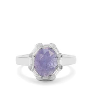Rose Cut Tanzanite Ring with White Zircon in Sterling Silver 4.14cts