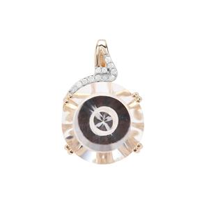 Wobito Maelstrom Cut Optic Quartz & Diamond 9K Gold Pendant ATGW 10.48cts