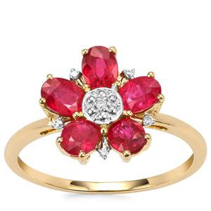 Montepuez Ruby Ring with Diamond in 9K Gold 1.42cts