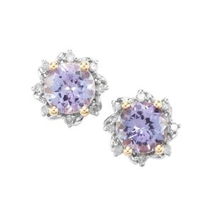 AA Tanzanite & Diamond 9K Gold Earrings ATGW 1.52cts