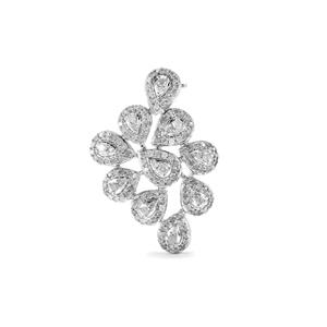1ct Diamond Sterling Silver Brooch