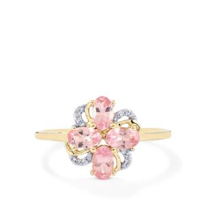 Mozambique Pink Spinel Ring with Diamond in 9K Gold 1.06cts
