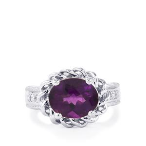 Zambian Amethyst & White Topaz Sterling Silver Ring ATGW 3.46cts