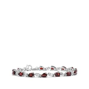 Rhodolite Garnet Bracelet with White Topaz in Sterling Silver 8.40cts