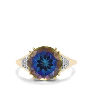 Mystic Blue Topaz Ring with Diamond in 9K Gold 5.83cts