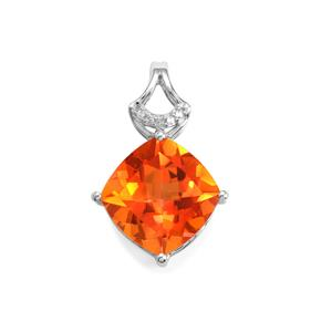 Padparadscha Quartz Pendant with White Topaz in Sterling Silver 6.46cts