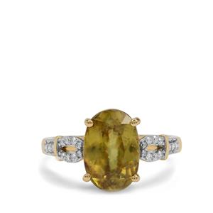 Ambilobe Sphene Ring with Diamond in 18K Gold 4.65cts